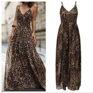 Leopard print glamorous maxi dress lined